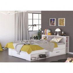 OXYGENE Lit adulte contemporain bois mat blanc perle + tete de lit - l 160 x L 200 cm