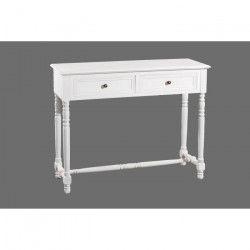 ELLA - Console - Classique - 2 tiroirs bois - Blanc -104cm