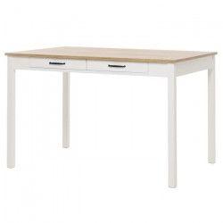 GOTLAND Table a manger de 4 a 6 personnes classique décor chene doré et blanc mat - L 120 x l 80 cm