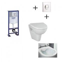 GROHE Pack WC suspendu complet avec plaque chromée et cuvette sans bride Velvet