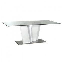 LINEANCE Table a manger 8 personnes style contemporain laquée blanc avec éclairage LED - L 200 x l 100 cm