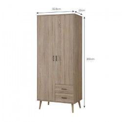 STEP Armoire de chambre scandinave poignée en métal et pieds en bois massif décor chene sonoma - L 82,8 cm