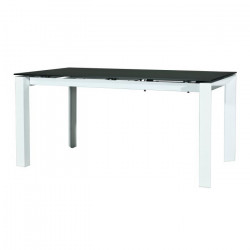 VISIT Table a manger extensible 6 a 10 personnes - Contemporain - Plateau verre gris satin + pieds métal blanc -