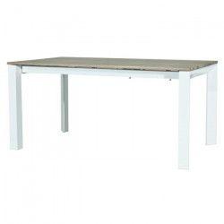 VISIT Table a manger extensible 6 a 10 personnes - Contemporain - Placage chene sonoma + pieds métal blanc - L