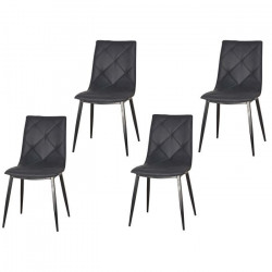 GLASGOW Lot de 4 chaises de salle a manger pieds métal noir - Simili noir - Contemporain - L 46 x P 65 cm