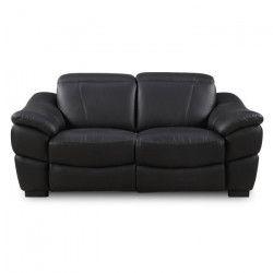 SERRENO Canapé de relaxation électrique Cuir et simili 2 places - Noir - Contemporain - L 180 x P 105 cm