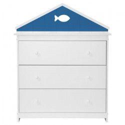MARINA Commode de chambre enfant style contemporain laquée blanc satiné et bleu serenity - L 88 cm