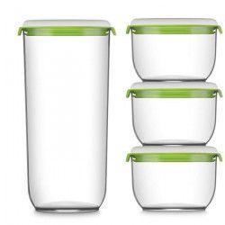 FOSA Lot de 4 Boîtes alimentaire - Blanc et vert