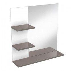 CORAIL Meuble miroir de salle de bain L 60 cm - Taupe brillant