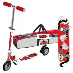 CDTS Lot Trottinette enfant 2 roues Aluminium + Skateboard 79 x 21 cm