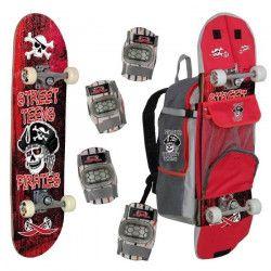 STREET TEENS Skateboard + Coudieres Genouilleres Sac