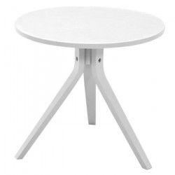 MAYFLOWER Bout de canapé/table d`appoint scandinave ronde en chene laqué blanc mat - Ø 50 cm