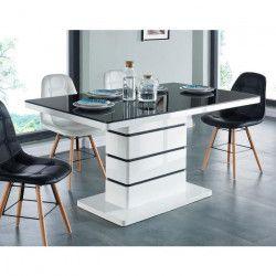 LUCIA Table a manger 6 personnes contemporain - Laqué blanc + plateau en verre trempé noir - L 150 x l 90 cm