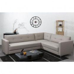 FINLANDEK Canapé d`angle NYKYAJAN 4 places - Simili taupe - Contemporain - L 255 x P 212 cm