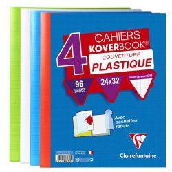 CLAIREFONTAINE - Lot de 4 cahiers piqûres avec rabats KOVERBOOK - 24 x 32 - 96 pages Seyes - 4 couleurs assorties