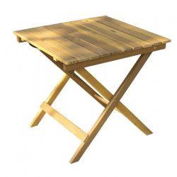 Petite table carrée pliable en bois d`acacia - 48x48x45cm - Marron