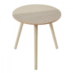 SHELLY Table d`appoint ronde style contemporain avec plateau placage Paulownia mat - Ø 40 cm