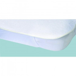Protege-matelas Alese imperméable Elasretane éponge bouclette 100% coton 140x190 cm blanc