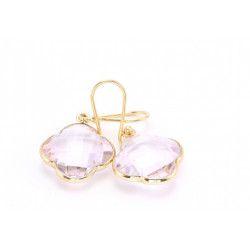 CAPUCINE Boucles d`oreilles doré Quartz rose