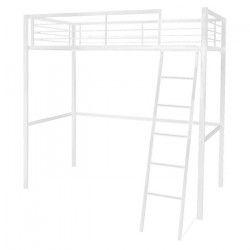 METALIK lit mezzanine enfant avec sommier industriel en métal blanc époxy + bureau - l 90 x L 190 cm