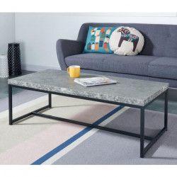 IMPAKT Table basse style contemporain décor béton et pieds métal laqué noir - L 115 x l 55 cm