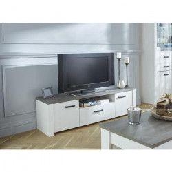 MARQUIS Meuble TV contemporain blanc, décor pin et décor chene - L 147 cm