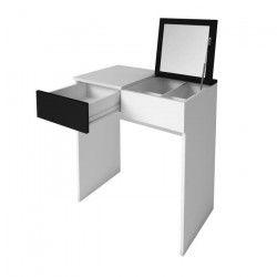 SARA Coiffeuse style contemporain - Blanc mat et noir mat - L 70 cm