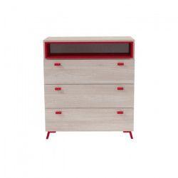 NEILS Commode de chambre scandinave mélaminée décor chene orme et rouge mat - L 82 cm