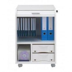 Caisson de bureau 2 tiroirs Contemporain - Blanc imprimé Tour Eiffel - L 47,2 cm