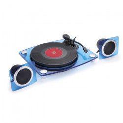 BIGBEN TD115BLSPS Tourne disques smoky acrylic avec speakerk, BT, PC encoding - Bleu