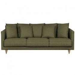 CONSTANCE Canapé droit fixe 4 places - Tissu vert kaki - Classique - L 212 x P 93 cm