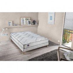 Ensemble matelas mousse et latex HD + sommier tapissier 140 x 190 - Confort ferme - Epaisseur 23 cm - Réversible -
