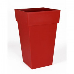 EDA Pot de fleur haut carré Toscane - 39 x 39 x H 65 cm - 62 L - Rouge rubis