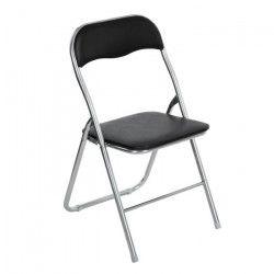 Chaise pliante - PVC noir - Style classique - L 44 x P 46,5 cm