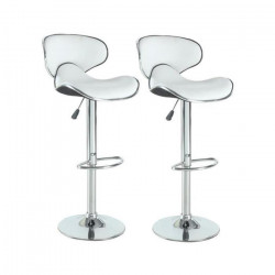 YORK Lot de 2 tabourets de bar réglables - Simili blanc - Contemporain - L 51 x P 50 cm