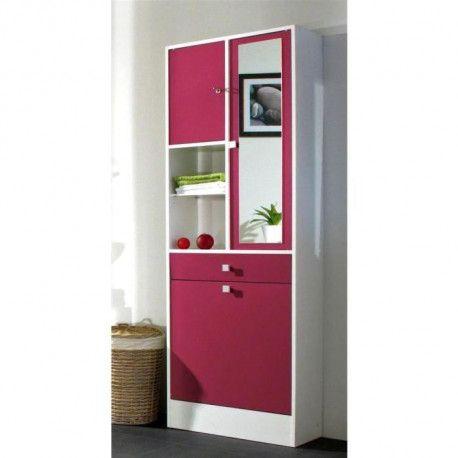 Galet armoire de toilette l 60 cm rose fuchsia mat - Armoire de toilette 60 cm de large ...