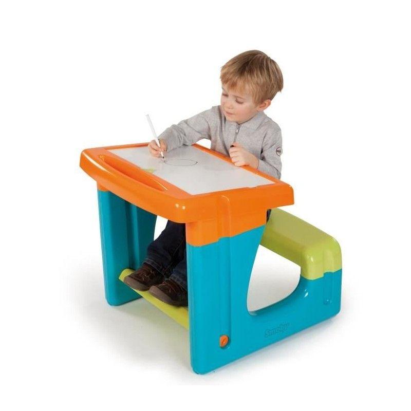 Smoby bureau enfant petit ecolier bleu - Petit bureau ecolier en bois ...
