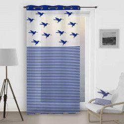 SOLEIL D`OCRE Voilage a oeillets Colibri - 140x260 cm - Bleu