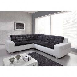 LOFT Canapé d`angle fixe gauche 6 places - Tissu gris anthracite et simili blanc - Contemporain - L 260 / 223 x P