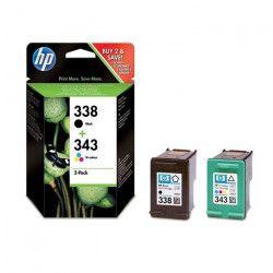 HP 338/343 Lot de 2 cartouches d`encre Noir et Trois couleurs (SD449EE)