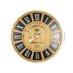 Horloge murale effet bois - MDF - Ø80x5 cm - Style classique et industriel - 1 pile LR06 (AA, 1,5V) non fournie