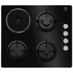 ELECTROLUX EGL6082NEK - Table de cuisson mixte - 3 foyers -7200W - L60 x l68cm - Revetement verre noir