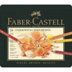 FABER-CASTELL Boîte Métal 24 Crayons Polychromos