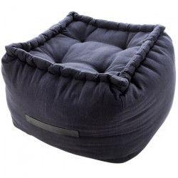 TODAY Pouf carré Carnet de Voyage - 100% coton - 45 x 45 x 45 cm - Noir ébene