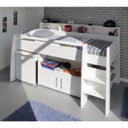 DAVE Lit combiné enfant avec bureau contemporain décor blanc - Sommier inclus -l90 x L200 cm