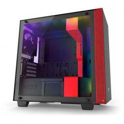 NZXT Boîtier PC Smart H400i - Micro-ATX - Smart Device - Panneau en verre trempé - Noir et rouge