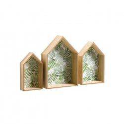 Set de 3 étageres murales maison en MDF - 40 / 34 / 28 cm - Impression jardin d`hiver