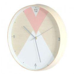 Horloge déco - Bois - Ø30 x 4,5 cm - Rose