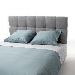 FINLANDEK Tete de lit ARMANCE classique - Tissu gris clair - L 140 cm