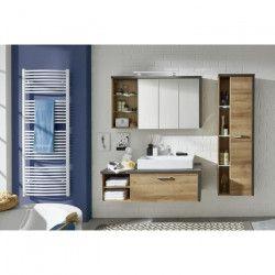 BAY Ensemble salle de bain simple vasque L 123 cm - Décor chene et béton